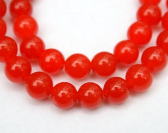 Full Strand 8 mm Apricot Jade Round Beads
