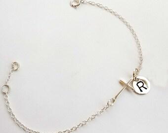 Sterling silver cross bracelet, monogram bracelet, Personalized bracelet. Sister bracelet. Mother bracelet, best friend bracelet