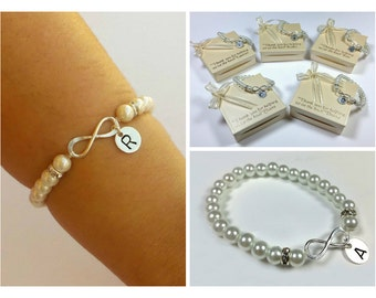 Free Shipping. Set of 7 nfinity personalized bracelets for bridesmaids. Pearl bridesmaids bracelet.