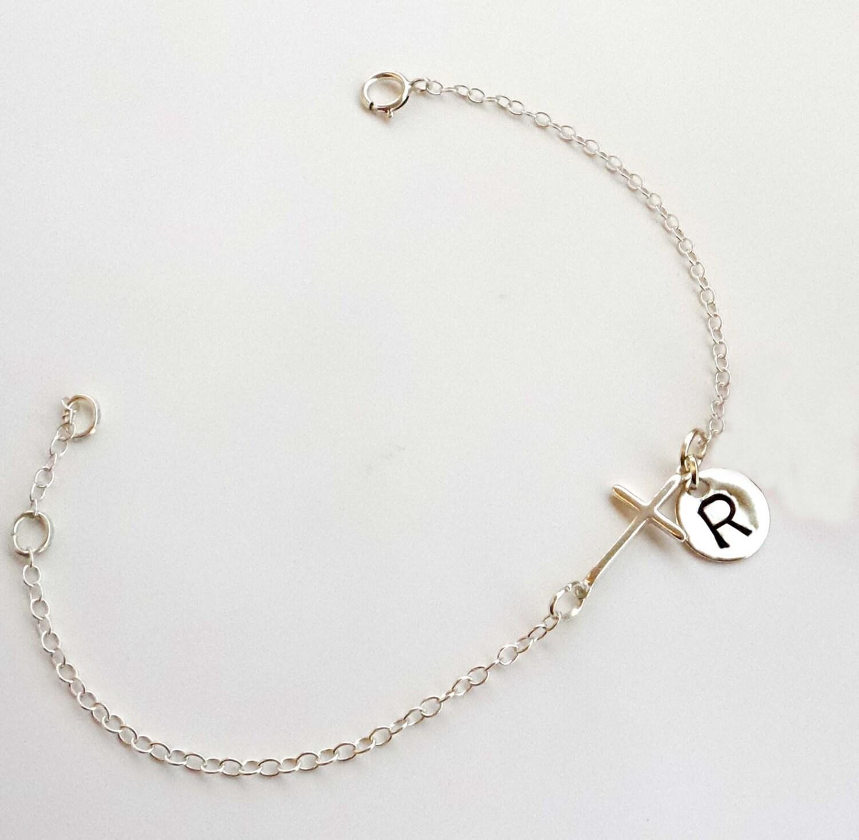 sterling silver cross bracelet monogram bracelet by