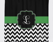 Hunter Green and Black Shower Curtain - Personalzied Shower Curtain - Monogrammed Green Shower Curtain