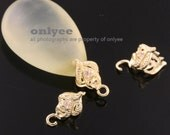 4Pcs-11mmX6mmGold Plated Brass With cubic Pinch Bail,peg for pendant,earring (K776G)