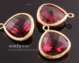 2pcs-18mmX15mmLarge Gold plated Brass Faceted Tear Drop With Glass pendants-Ruby(M363G-F)