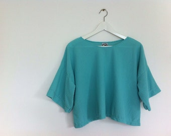 Cute handmade Blue Fluffy cropped tee / half sleeve t-shirt / tee / top /  blouse / zakka style / Japanese style