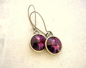 Swarovski earrings, Amethyst earrings, vintage style earrings, Purple earrings, February Birthstone, crystal earrings, rivoli earrings