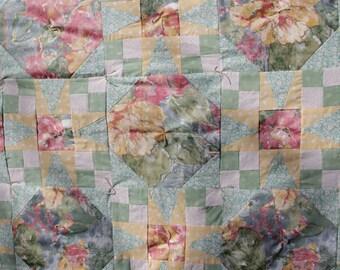 Aqua - Yellow Floral Queen Quilt - Tennessee Waltz Pattern