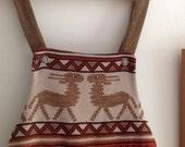 Girls vintage 1970s deer aztec hippy mod bohi folk pinafore dress 4 years