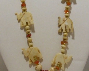 Vintage Carved Bone Elephant Necklace with Carnelian Chips