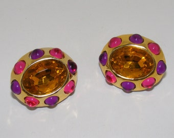 Vintage Large Gold Tone Clip Earrings with Topaz, Purple and Pink Cabachons