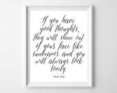 Roald Dahl Quote-If You Have Good Thoughts-Minimalist Modern Wall Art Print by paper and palette