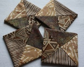 Folded Fabric Coasters ; Brown Coasters ; Candle Mats ; Mug Rugs ; Home Décor; Little Quilts