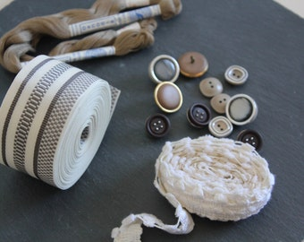 SALE 50 OFF Vintage Trim Button Thread Kit Sewing Supply Lot Grey Beige Brown Inspiration Set