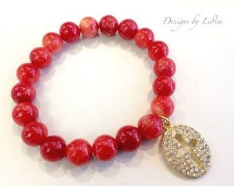 Fire Red Orange Beaded Bracelet with Gold Pave Cross Charm