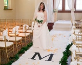 DIY Ruffle Ivory Wedding Aisle Runner with Custom Monogram Initials - Ivory Canvas-Classic Traditional Wedding Ceremony