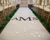 30ft Burlap Wedding Aisle Runner with Custom Monogram Initials - Non-Slip, Slip Free - Cream Ivory Burlap-Rustic Wedding-County Wedding