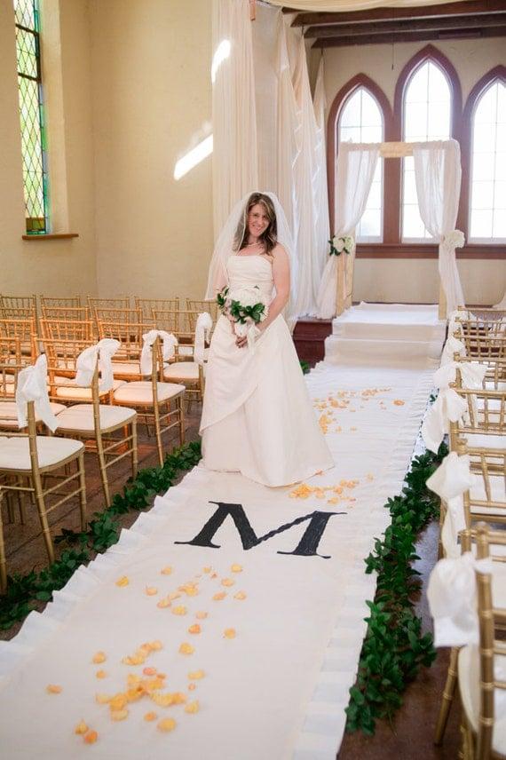 40ft Ruffle Ivory Wedding Aisle Runner With Custom Monogram