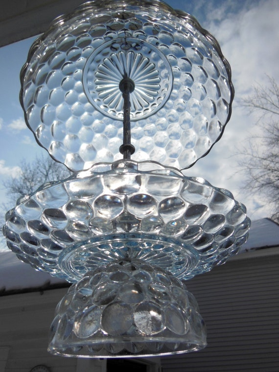 Hanging bowl bird feeder vintage crystal fire king bubble for Hanging fire bowl