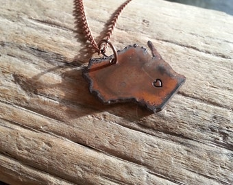 Recycled Copper Wisconsin Rustic State Necklace hand stamped heart metal necklace