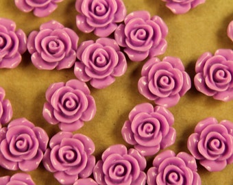 20 pc. Lilac Glossy Crisp Petal Rose Cabochon 14mm | RES-403
