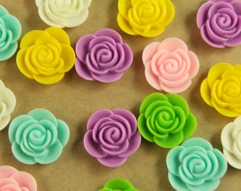CLOSEOUT - 24 pc. Multi Colored Blooming Flower Cabochons 20mm | RES-405
