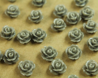 30 pc. Grey Rose Cabochon 10mm | RES-406