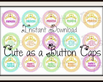 "Princess Bottle cap image - Daddy's Princess bottle cap image - Summer Bottle cap - INSTANT DOWNLOAD 1"" Bottle Cap Images"