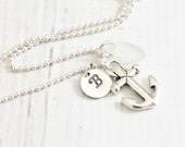 Personalized nautical necklace, sea glass anchor necklace hand stamped initial charm necklace seaglass everyday nautical jewelry