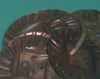 Antique CARVED ABALONE BUTTONS