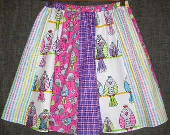 Bright BIRD print paneled skirt / Girls skirt size 8/10 - childs pink and purple bird print skirt with stripes and plaid