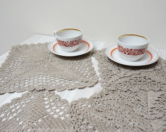 Linen Doilies coaster flower set of 6 7 six seven crochet mat pad square floral gray taupe ecru table placemat napkin knit flax