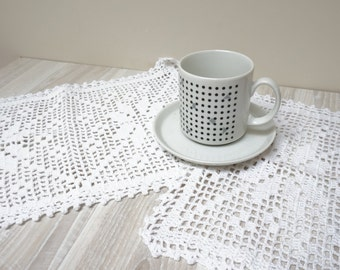 Set of 2 two Doily coaster centerpiece crochet mat pad square oblong white table placemat cotton knitted home decor handmade rectangular