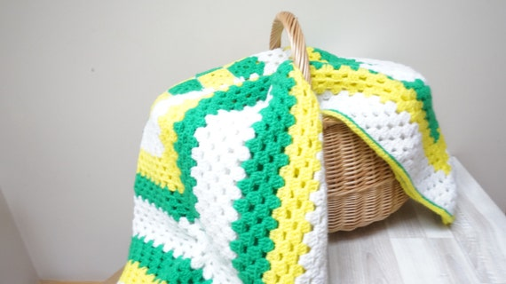 Baby Blanket Plaid Crochet Square White Green Yellow By