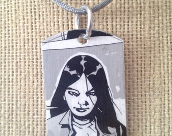 Maggie The Walking Dead upcycled comic book tag, includes necklace or key ring