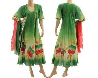 Boho hand dyed maxi dress with scarf, summer party dress cotton green red orange / art to wear medium to plus size women M-L, US size 10-14