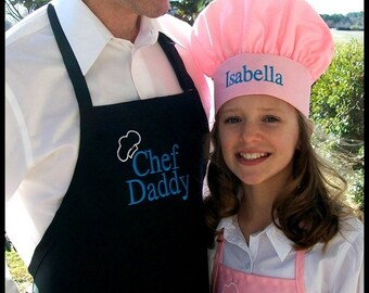 """Personalized Men's """"Chef Daddy"""" Apron - Chef Grandaddy Chef Pappy - Choose Your Name -Personalized Men's Grilling Cooking Apron - Dad's Gift"""