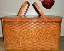 Vintage Basket, Picnic Basket, Redmon,  Sewing Basket, Large, Rectangle, Storage Basket