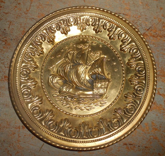 Brass Wall Plates Decor : Vintage wall plates brass ships embossed metal pictures