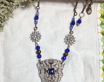 Vintage Art Deco Rhinestone Sapphire Something Old Something New Something Blue Necklace UpCyCleD 30s Dress Clip Pendant~WishAnWearJewelry