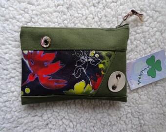 Handmade leather and denim purse, 17,5  x 12 cm