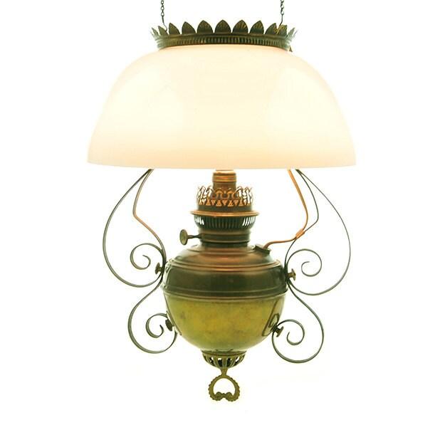 antique hanging light fixture kerosene oil lamp converted to. Black Bedroom Furniture Sets. Home Design Ideas
