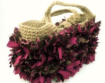 Unusual tote rag rug-style snip bag. Funky. Made in the UK.