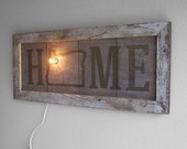 Wood wall art custom home sign - Lit marquee sign oregon wall decor hanging state art