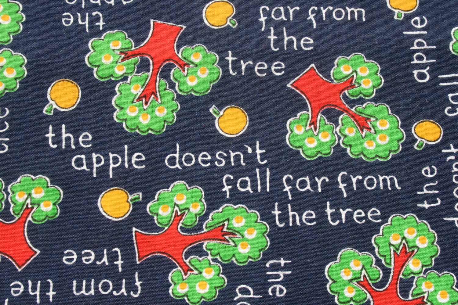 Vintage cute kids novelty cotton fabric the apple doesn 39 t for Kids novelty fabric
