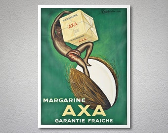 Margarine Axa Vintage Poster by Leonette Cappiole - Poster Paper, Sticker or Canvas Print / Gift Idea
