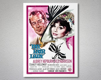 My Fair Lady  Movie Poster - Audrey Hepburn, Mel Ferrer  - Poster Paper, Sticker or Canvas Print / Gift Idea