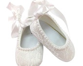 White Baby Shoes,  Pink Baby Shoes, Lace Shoes, Pearl Baby shoes, Ribbon, Pearls, Photo Prop, Birthday, Christening, Ballerina, white shoes