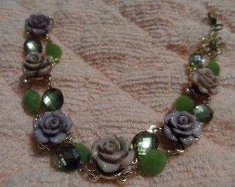 Porcelain Floral Charm Bracelet