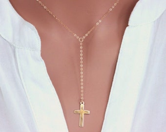 14k Gold Fill Y Neckalce. Gold / Sterling Silver Cross Neckalce, Cross  Necklace, Celebrity Cross Y Necklace, Lariat Y necklace, Blessed