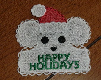 Embroidered Magnet - Happy Holidays  -  Mouse