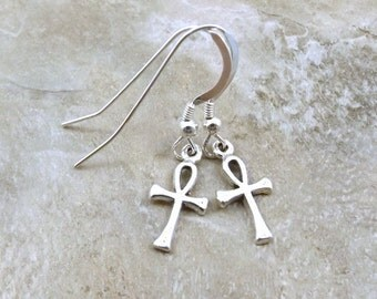 Sterling Silver Petite Ankh Dangle Earrings on Sterling Silver French Hook Ear Wires - 1199